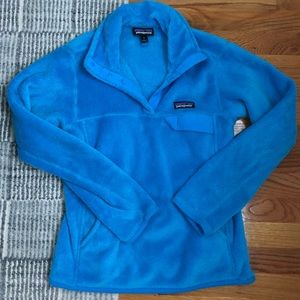 Electric Blue Patagonia Fleece Quarter-Snap
